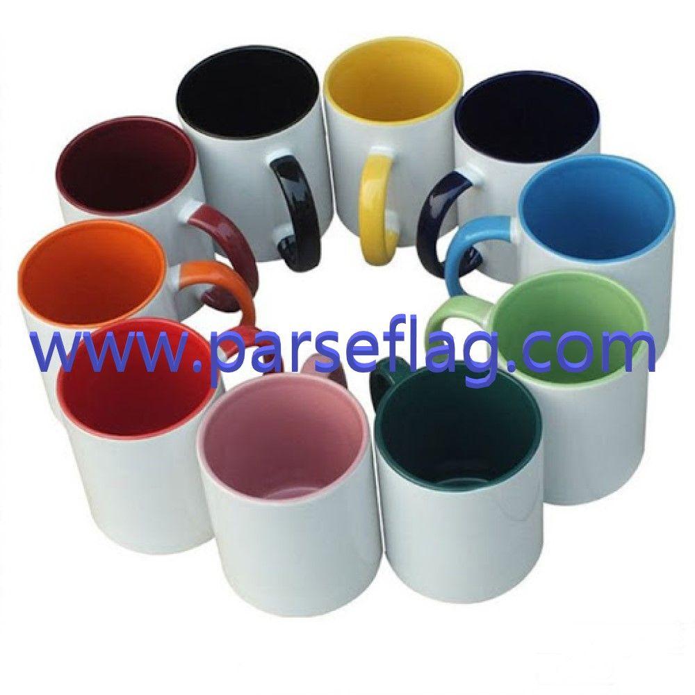 لیوان دسته و داخل رنگی
